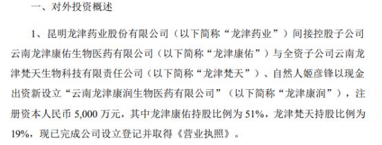 龙津药业间接控股子公司拟出资2550万元设立云南龙津康润生物医药有限公司 持股比例为51%