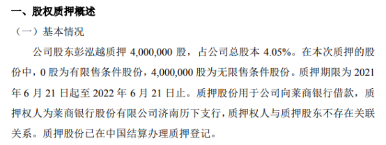 乾元泽孚股东彭泓越质押400万股 用于公司向莱商银行借款