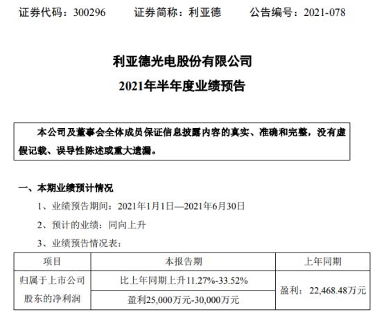 利亚德2021年上半年预计净利2.5亿-3亿增长11.27%-33.52% 境外新签订单超过上年同期