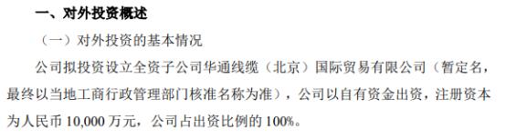 华通线缆拟投资1亿元设立全资子公司华通线缆(北京)国际贸易有限公司