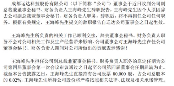运达科技财务负责人王海峰辞职 王爽接任