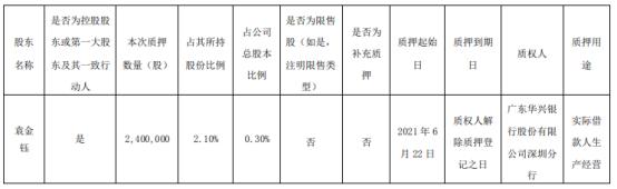 顺络电子董事长袁金钰质押240万股 用于实际借款人生产经营