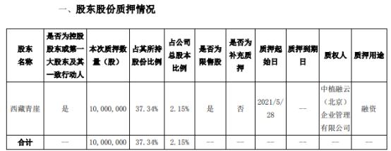 经纬辉开控股股东西藏青崖质押1000万股 用于融资