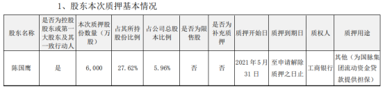 国脉科技控股股东陈国鹰质押6000万股 用于为国脉集团流动资金贷款提供担保