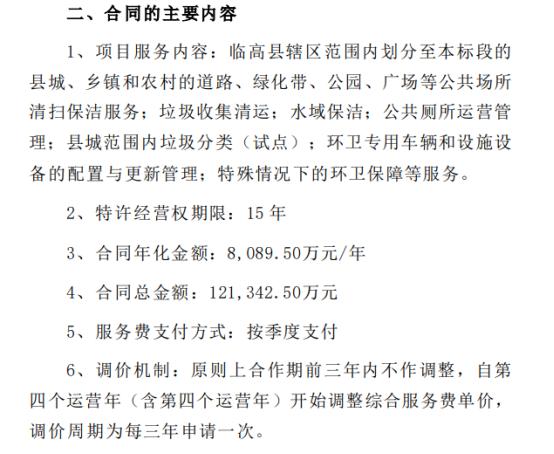 龙马环卫签署《临高县环卫一体化PPP项目框架协议》 合同总金额12.13亿元