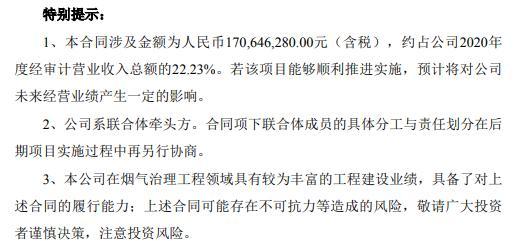 同兴环保与邯钢龙山钢铁签订总承包合同 合同金额为1.71亿(含税)