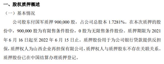 科达自控股东付国军质押90万股 用于为公司银行贷款提供反担保