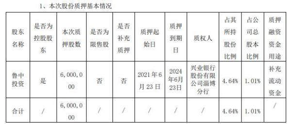 山东药玻控股股东鲁中投资质押600万股 用于补充流动资金
