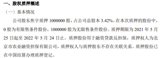 森源达股东焦宇质押100万股 用于融资贷款反担保