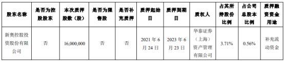 新奥股份股东新奥控股质押1600万股 用于补充流动资金