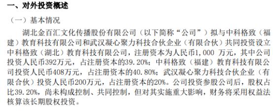 金百汇拟投资392万元设立中科格致(湖北)教育科技有限公司