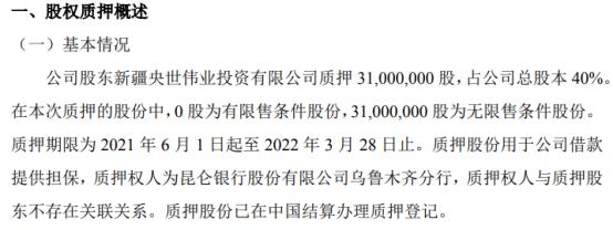 德信股份股东质押3100万股 用于为公司借款提供担保