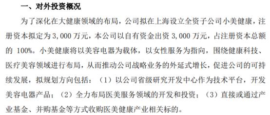金莱特拟在上海投资3000万元设立全资子公司小美健康