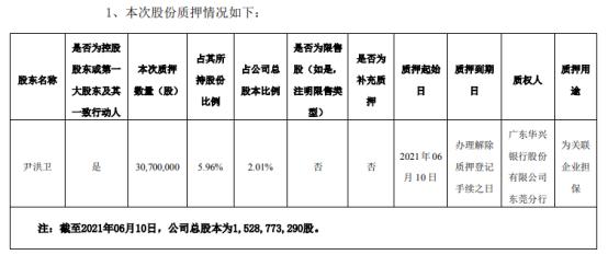 岭南股份控股股东尹洪卫质押3070万股 用于为关联企业担保