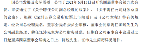 同兴环保聘任陈锐为副总经理、汪沛为财务总监