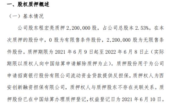 美林数据股东程宏亮质押220万股 用于为公司申请招商银行股份有限公司流动资金贷款提供反担保