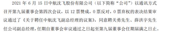中航沈飞聘任关勇、薛洪宇为公司副总经理