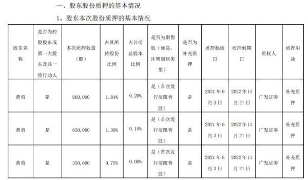 电声股份2名控股股东合计质押236万股 用于补充质押