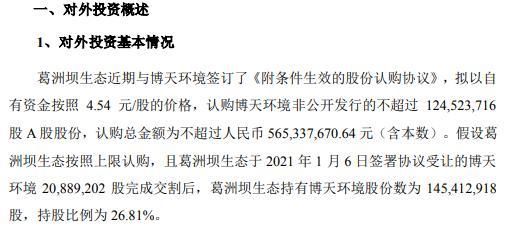 葛洲坝全资子公司参与认购博天环境非公开发行股份 认购总金额不超过5.65亿