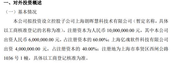 朗晖化工拟投资600万元设立控股子公司上海朗晖慧科技术有限公司