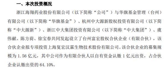 海翔药业拟出资1亿元参与设立合伙企业投资复宏汉霖