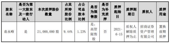 东山精密控股股东袁永峰质押2100万股 用于置换前期质押