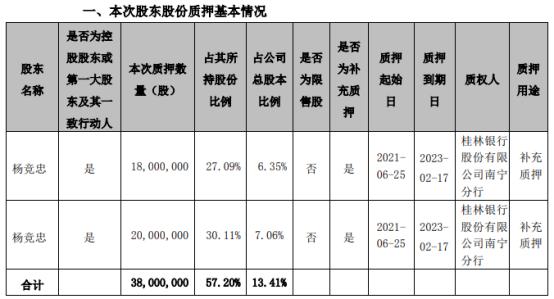 ST八菱第一大股东杨竞忠质押3800万股 用于补充质押