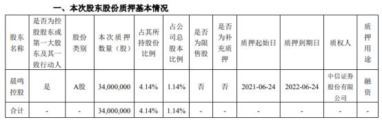 晨鸣纸业第一大股东晨鸣控股质押3400万股 用于融资