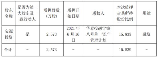 红宝丽第一大股东宝源投资质押2573万股 用于融资