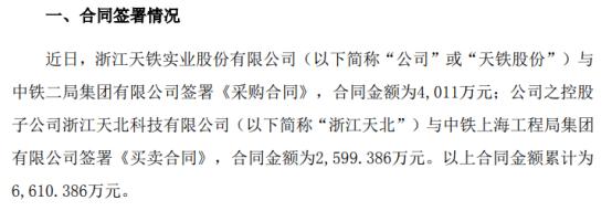 天铁股份及控股子公司分别签订重大合同 合同金额累计为6610.39万