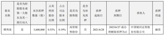 大华股份控股股东傅利泉质押560万股 用于融资