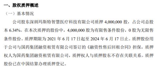 同泰生物股东质押400万股 用于公司与国药集团融资租赁有限公司签订的《融资性售后回租合同》担保