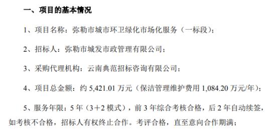 侨银股份中标约5421万元云南省弥勒市城市环卫绿化市场化服务(一标段)项目