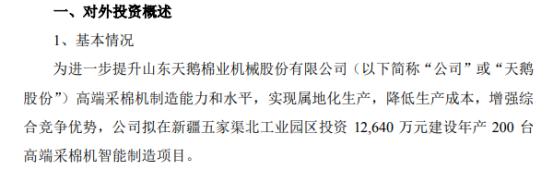 天鹅股份投资1.26亿元建设年产200台高端采棉机智能制造项目