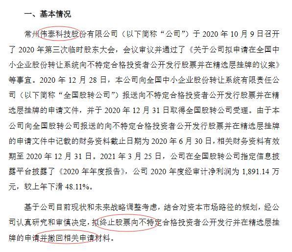 伟泰科技撤回精选层申报材料:去年利润下滑48%