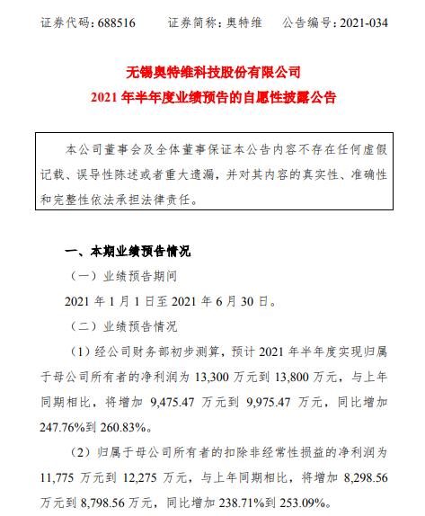 奥特维2021年上半年预计净利1.33亿-1.38亿增加247%-260% 核心产品获得客户认可