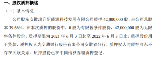 安瑞升股东质押4200万股 用于贷款