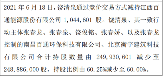 百通能源股东饶清泉减持104.46万股 一致行动人持股比例合计为60%