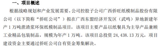 南宁糖业控股子公司拟开展异地新建年产1万吨蔗渣浆环保纸模制品项目 项目总投资2.44亿