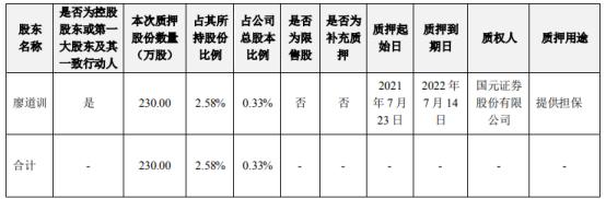 视觉中国控股股东廖道训质押230万股 用于提供担保