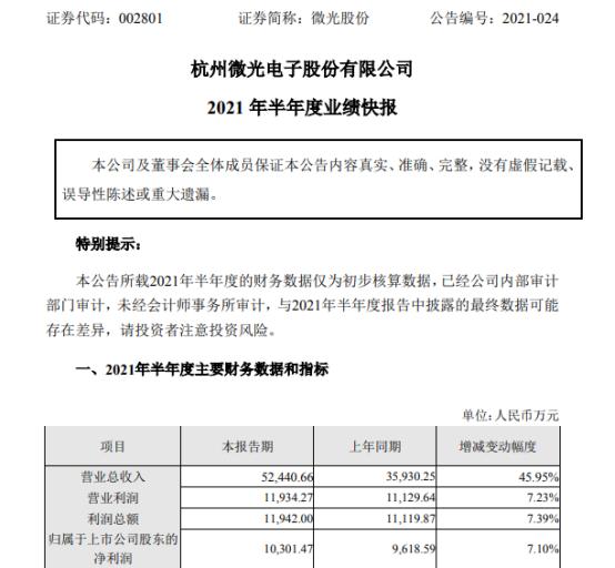 微光股份2021年上半年净利1.03亿增长7.1% 国内需求增加