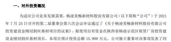 美畅股份投资建设金刚切割丝基材项目 预计投资总额1.59亿元