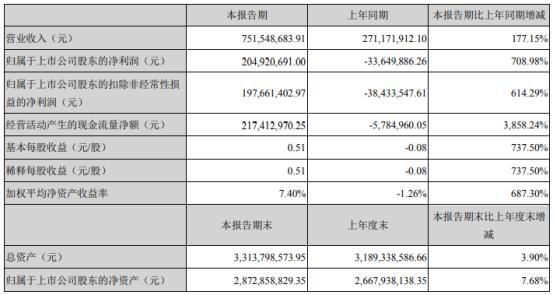 天际股份2021年上半年净利2.05亿同比扭亏为盈 六氟磷酸锂销售收入增加