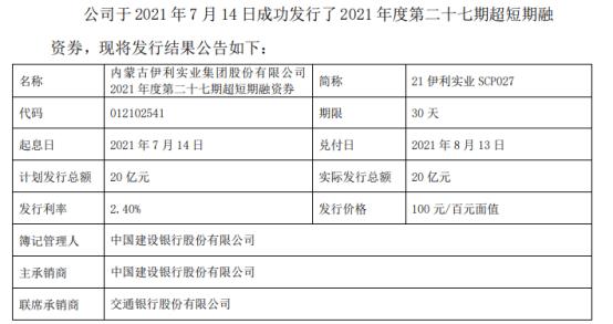 伊利股份发行20亿短期融资券 票面利率2.4%