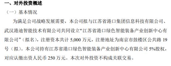 国基科技拟投资250万参与设立江苏省港口绿色智能装备产业创新中心有限公司 持股5%