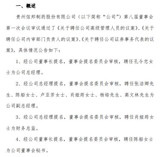 信邦制药聘任孔令忠为公司总经理、肖娅筠为财务总监