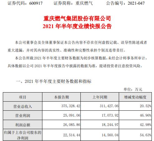 重庆燃气2021年上半年净利2.25亿增长54.63% 燃气销售利润增长