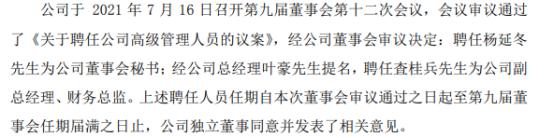 *ST永林副总经理、财务总监陈振宗辞职 査桂兵接任