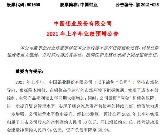 中国铝业2021年上半年预计净利30亿 主营产品毛利较去年同期大幅增加