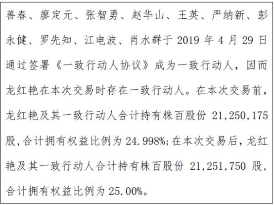 株百股份股东龙红艳增持1575股 一致行动人持股比例合计为25%